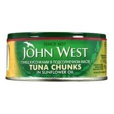 Tunas gabaliukais John west aliejuje 160g